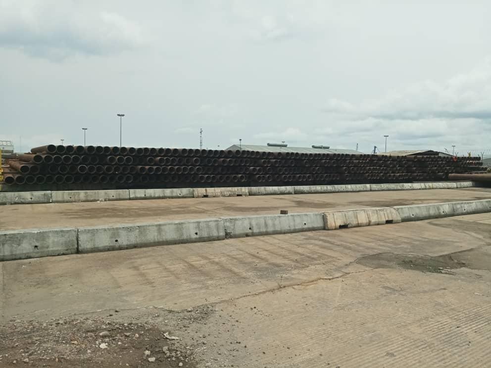 Bare Pipes Stacked At PCNL/TENARIS Yard